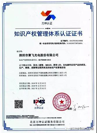 聚飞光电知识产权管理体系贯标实践